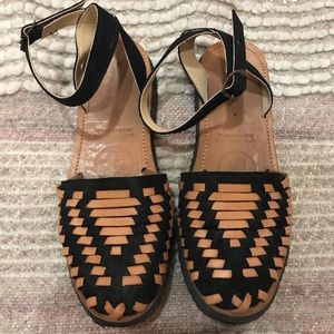 IX STYLE Leather Ankle Strap Huaraches Sandals